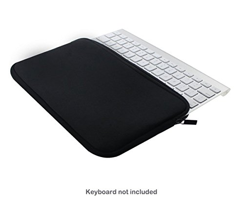 se Wonder Neopren Tastatur Bewegliches Schutztragetasche Abdeckung Taschen-Haut für Apple Drahtlose Bluetooth Tastatur MC184D/B MC184D/A / Apple Magic Tastatur MLA22D/A / Magic Trackpad 2 / Logitech Bluetooth Illuminated Keyboard K810 / Logitech K380 Bluetooth-Tastatur und fast 12-Zoll-drahtloser Tastatur- (Schwarzer Zip) ()
