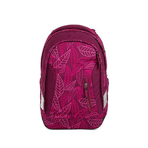 Satch Sleek Purple Leaves, ergonomischer Schulrucksack, 24 Liter, extra schlank, Lila