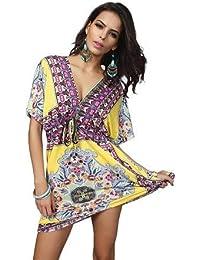 3815f008bd8 HITSAN INCORPORATION Women V-Neck Beachwear Cover Plus Large Size Beach  Vacation Dress Beach Anti-Sunburn Skirt Saida de Praia…