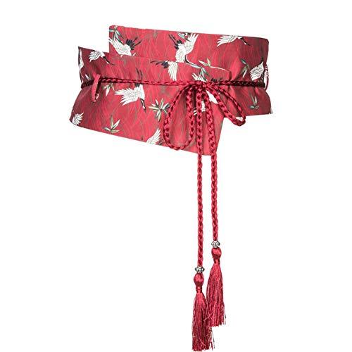Retro Stampa Giapponese Yukata Kimono Robe Obi Cintura B