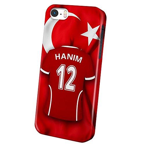 PhotoFancy – iPhone 5 / 5s / SE Handyhülle Premium – Personalisierte Hülle mit Namen Hanim – Case mit Design Fußball-Trikot Türkei EM 2016