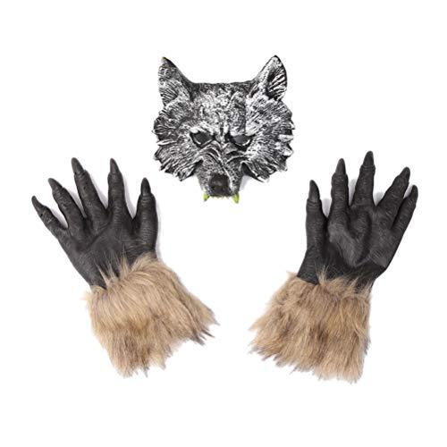 Amosfun Halloween Wolf Maske Werwolf Handschuhe gruselig Wolf Kostüm Terror Teufel Phantasie Kopfbedeckung Kleid Party Requisiten Wolf Kopfbedeckung Handschuhe Set für Männer und Frauen