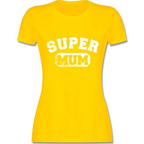 Shirtracer Muttertag - Super Mum - Vintage-&Collegestil - Damen T-Shirt  Rundhals Gelb