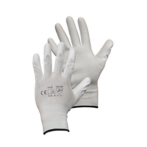 Montagehandschuhe - 12 Paar - Arbeitshandschuhe - Farbe: weiß - 9 (L)