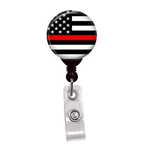 DÜNN Rot Line USA Flagge-Einziehbares Schlüsselband Badge Reel-Krankenschwester ID Namensschild Custom Clip auf Badge Holder (1/4Flagge Gürtelclip) (Fighter Fire Abzeichen)