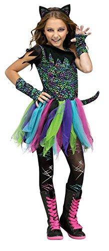 Wild Rainbow Cat Mädchen-Kostüm Kinder Neon Katze Kätzchen Teenager Halloween, Kindergröße:134 - 7 bis 9 Jahre (Teenager Katze Kostüme)