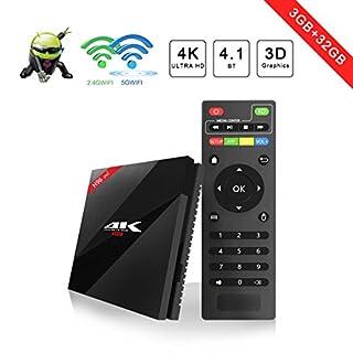 TV BOX Android 7.1–aoxun [2018Latest Generation] H96Smart TV Box Amlogic s912W Octa-core, 3GB RAM & 32GB ROM, 4K UHD Video H.265, 2USB Ports, Hdmi, Web Dual Band WiFi and Bluetooth 4.1TV Box