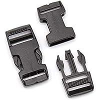Steckschnalle 20mm Schwarz gerade POM Acetal [10 Stück] HEAVYTOOL Steckverschluss Klippverschluss Klickverschluss
