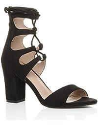 Damen Hohe Absatz Ausgeschnitten Schnür-Pumps Peep Toe Schuhe Sandalen Größe 17a0f564a9
