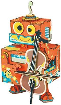 Jouet 3D Puzzle, Robot Modèle Tirant La Guitare, Boîte À Musique, Artisanat En Bois, Puzzle En Bois, Cadeaux Faits À La Main, Décorations, Style Minimalisme | Sale
