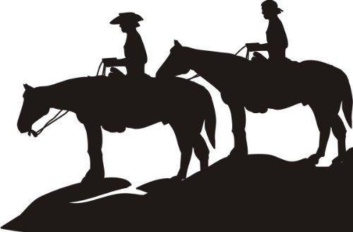 T-Shirt E562 Schönes T-Shirt mit farbigem Brustaufdruck - Logo / Grafik - Comic Design - Silhouette - Cowboys mit schönen Pferden Weiß