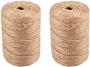 Pack of 2 Jute Twine Natural Jute Durable DIY Woven Bundling Twine Jute Rope Packing String for Decoration