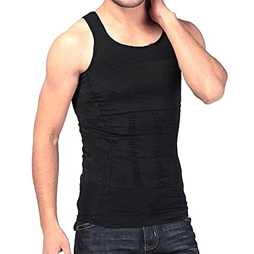 Wave Shop Slim N Lift Slimming Tummy Tucker Body Shaper Vest for Men (Large Black)