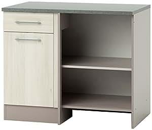 demeyere 337989 chef angle meuble bas de cuisine panneau de particules mdf acacia basalte 100 x. Black Bedroom Furniture Sets. Home Design Ideas