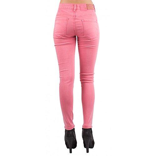 Jean slim stretch taille haute rose troué Taille 36 à 44- Rose