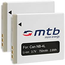 2x Batería para Canon NB-4L–Compatible con Canon IXUS 30, 40, 50, 55, 60, 65, 70, 75. ver lista
