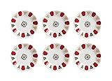 Topkapi - 6er Set Porzellan-Untersetzer für Türkische Teegläser Teeglas Klassik-Rot, Ø 11,2 cm, 6 Stück