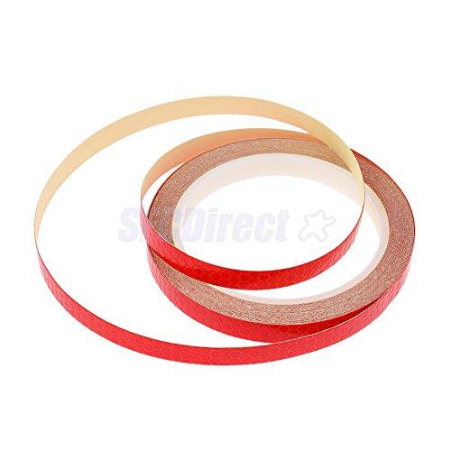 2er Pack Reflektierende Aufkleber Motorrad Fahrrad Radfahren Felgen Sticker Sicherheit Band Nacht Reflektor Streifen Tape (Rot) - Nacht Reifen