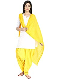Funfabrics Women Cotton Solid Full Free Size Yellow Plain Patiala Salwar Dupatta Set Cotton Patiala Dupatta