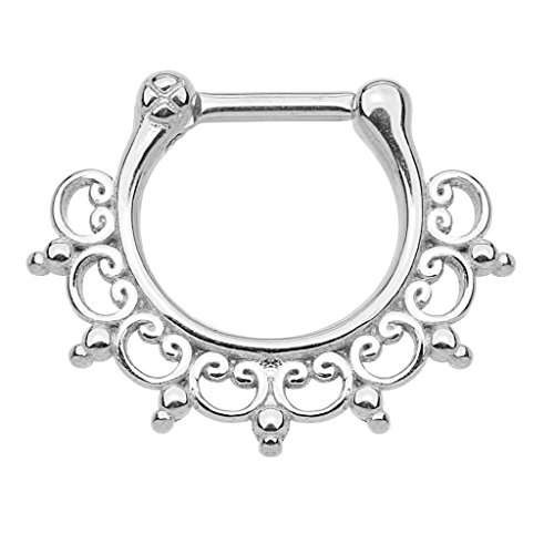 silvertone-septum-clicker-lace-tribal-16g