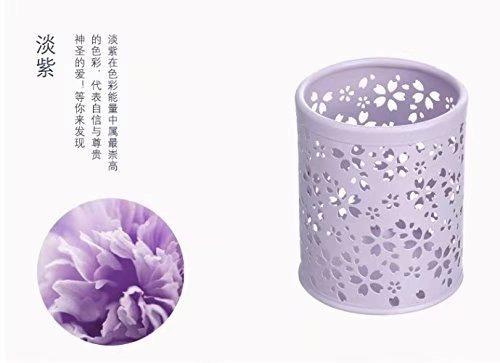 ricisung Multicolor Muster Kosmetik Metall Stift Bleistift Pot Holder Organizer Stationery Container, Cherry blossoms-purple Land Pot Holder