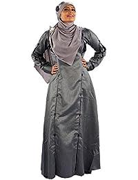 Parvin Women's Poly Cotton Burqa (suitabaya3185silv, Silver, XL)