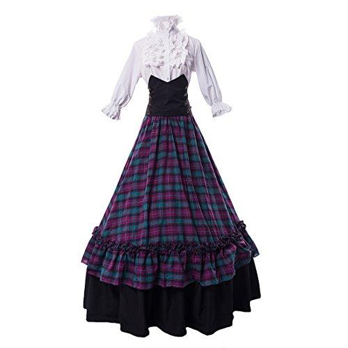 Partiss Damen Bluse Ballkleid Maskerade Gothic Lolita Kleid Kariert Rock, L, Purple Tartan