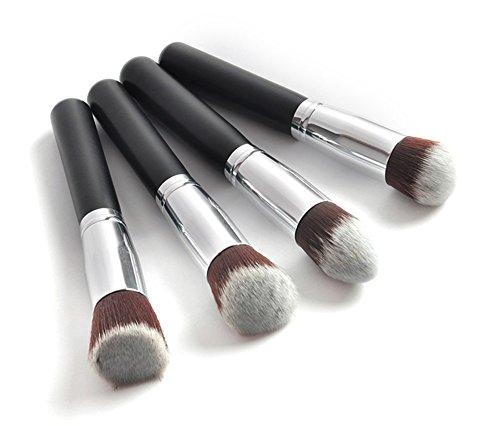 RoseFlower® Professionnel 4 Pcs Pinceaux Maquillage Trousse - Pro Make Up Cosmétique Brosse / Brushes Kit Pour Visage Blending Fondation Blush Eyeliner Poudre