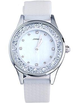 Sinobi Damen Weiß Strass schöne Schmuck stylische Quarz Analog Silikon Armbanduhr