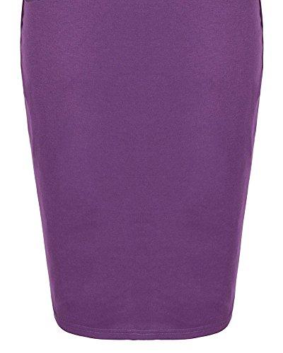 Femme Vintage Robe manches 3/4 Haut Dentelle Bodycon Violet