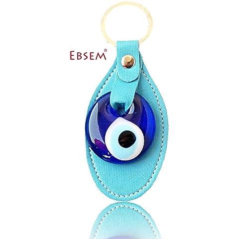 Evil Eye portachiavi portachiavi SYNTETIC Pelle Decorativo Turco–Greco–ebraica–cristiana a mano Ornament Light Blue - Ebraica Evil Eye