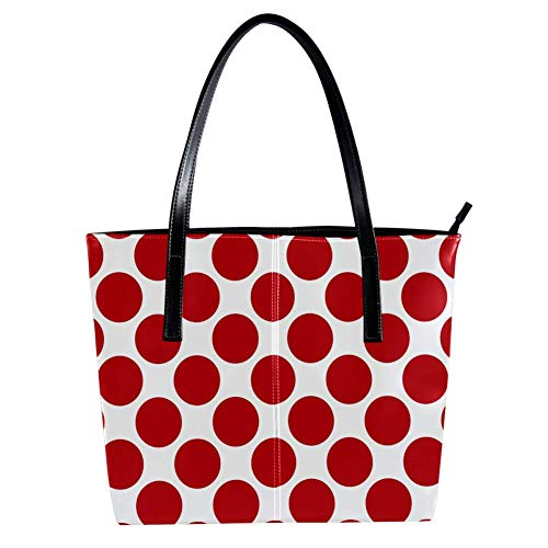 Women's Bag Shoulder Tote handbag Red Polka Dots print Zipper Purse PU Leather Top-handle Zip Bags -