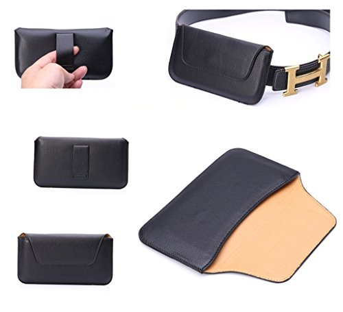 DFV mobile - Belt clip holster horizontal ultra thin synthetic leather premium for => LENOVO A630 > Black