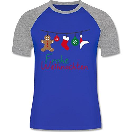 Weihnachten & Silvester - Frohe Weihnachten Girlande - zweifarbiges Baseballshirt für Männer Royalblau/Grau meliert