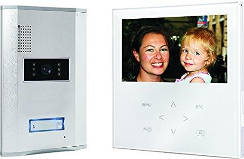 Smartwares Video-Türgegensprechanlage mit flachem Touchscreen-Panel, Farbbildmonitor, VD71W SW