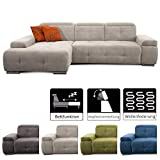 CAVADORE Schlafsofa Mistrel mit Longchair XL links / Große Eck-Couch im modernen Design / Mit...