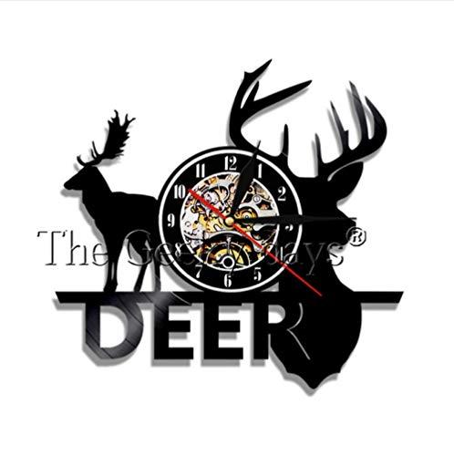 Wild Woodland Animal Forest Bull Elk Orologio da parete Decorazioni per orologi Orologio da parete in vinile silenzioso al quarzo Orologio da parete design moderno Orologio da parete 30 CM W406