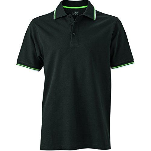 JAMES & NICHOLSON Herren Poloshirt, Einfarbig noir-blanc-vert citron