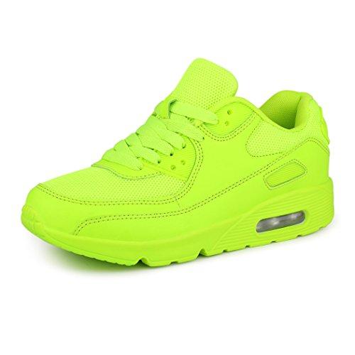 best-boots Unisex Damen Herren Sneaker Laufschuhe Turnschuhe Neu Neon-Grün 4 (fällt kleiner aus)