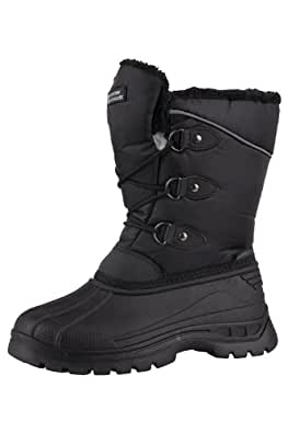 Mountain Warehouse Whistler Kids Warm Waterproof Breathable Sherpa Fuax Fur Lining Snow Boots Black 10 Child UK
