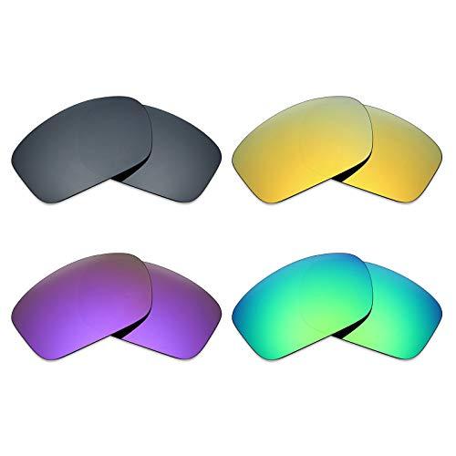 MRY 4Paar Polarisierte Ersatz Gläser für Oakley Skalpell sunglasses-black Iridium/24K Gold/Plasma violett/Smaragd Grün