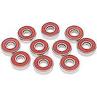 RUNGAO Rodamiento de monopatín, ABECABEC-7 Resistente al Desgaste, Ruedas de Acero para Longboard, Patinete Kick, Patines en línea y Patines de Rodillo, Red ABEC-9, 10 Piezas