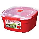 Sistema Microwave Medium Steamer with Removable Steamer Basket - 2.4 L, Red/Clear