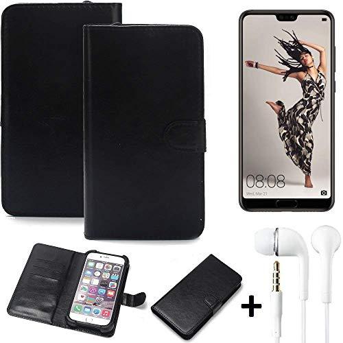 K-S-Trade 360° Handyhülle Wallet Case Huawei P20 Pro Single-SIM Schutz Hülle Smartphone Flip Cover Flipstyle Tasche Schutzhülle Flipcover Slim Bumper schwarz, 1x + in Ear Headphones