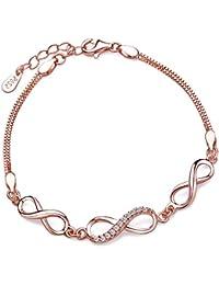 'Yumi Lok Oro Rosa 3 infinity Infinito Símbolos de plata de ley 925 con Circonita Charm pulsera cadena brazo joyas para mujer Chica, 6.3 – 7.5 regulable