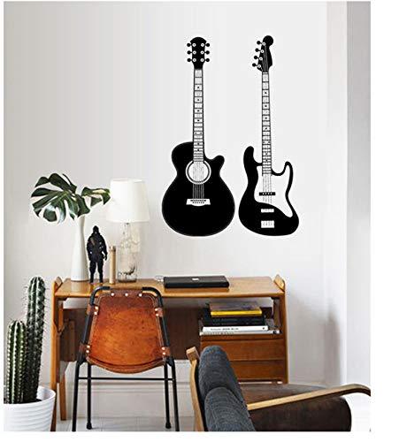 (Jushuyin Gitarre Moderne Dekoration Wandaufkleber Pvc Musiker Musik Liebhaber Wohnzimmer Hintergrund Wandbilder Wasserdichte Tapete Wohnkultur)