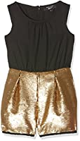 New Look 915 Girl's 2 in 1 Sequin Playsuit Dresses, Gold, 11 Years