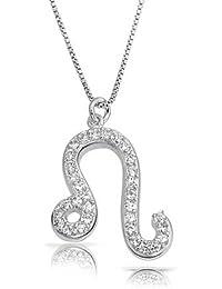 Bling Jewelry Plata Esterlina Leo Zodiaco CZ Allanar Collar