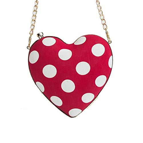 Hungrybubble Frauen lieben Mini-Tasche Cross-Body-Umhängetaschen mit Kette Abend Geldbörse (Color : Red)