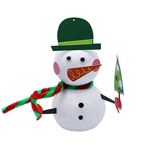 BESTOYARD Weihnachten DIY Handwerk Schneemann Geformt Schaum Ball Kunst Dekoration Weihnachten Schneemann Dekoration DIY Handwerk Kits Weihnachten Ornamente (Grünen Hut)
